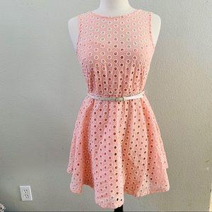 🆕AS U WISH Pink belted eyelet a-line dress 7